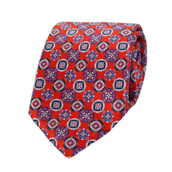 Canali Decorative Pattern Tie red