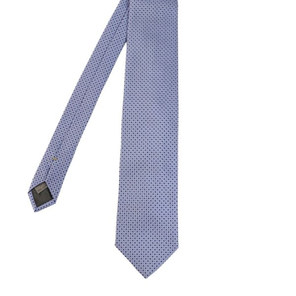 Canali Diamond knit tie light blue main