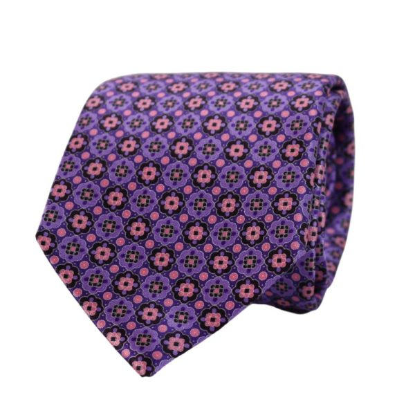 Canali Floral Shape Pattern Tie Purple
