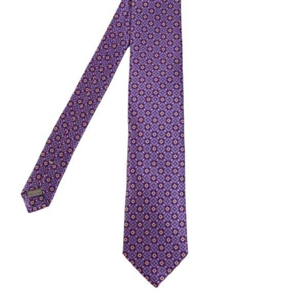 Canali Floral Shape Pattern Tie Purple main