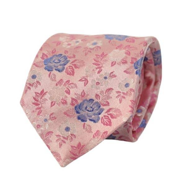 Canali Floral bloom tie pink