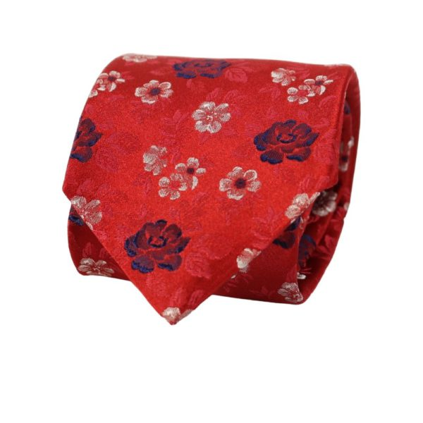 Canali Floral bloom tie red