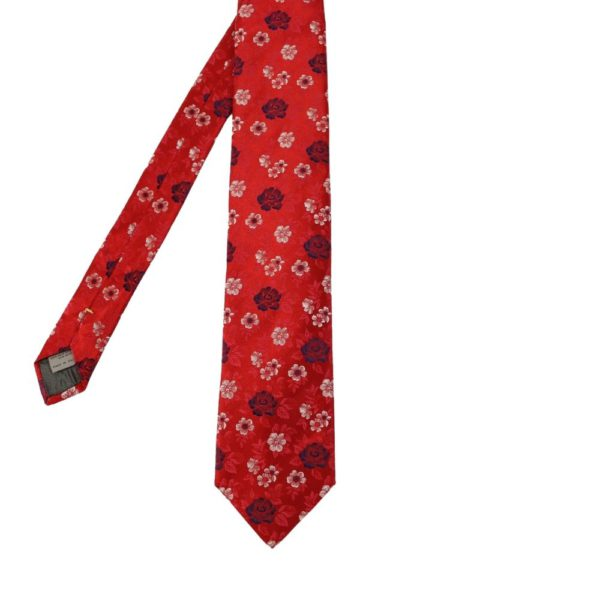 Canali Floral bloom tie red main