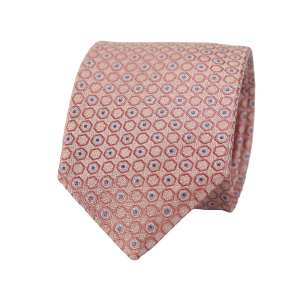 Canali Hexagon and Dots Tie pink