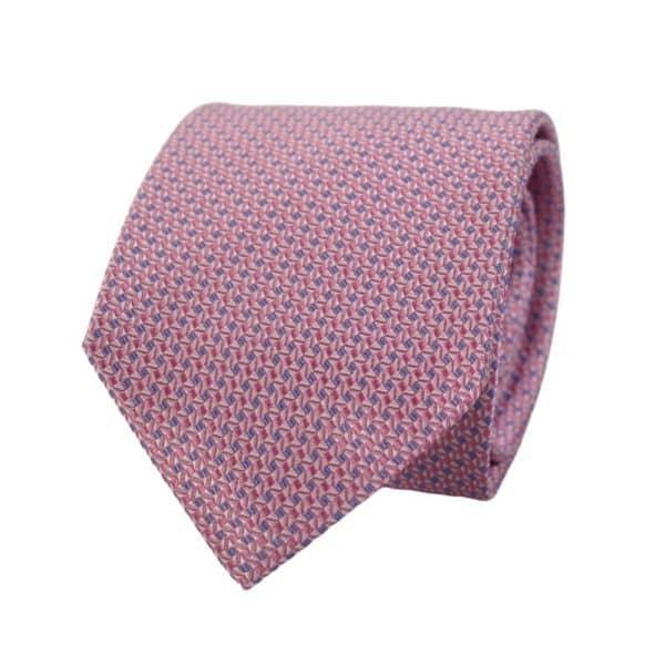Canali Mini Diamond Knit Tie pink