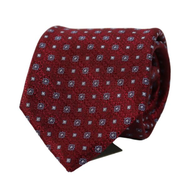Canali Mini Flowers and Squares Ties Burgundy