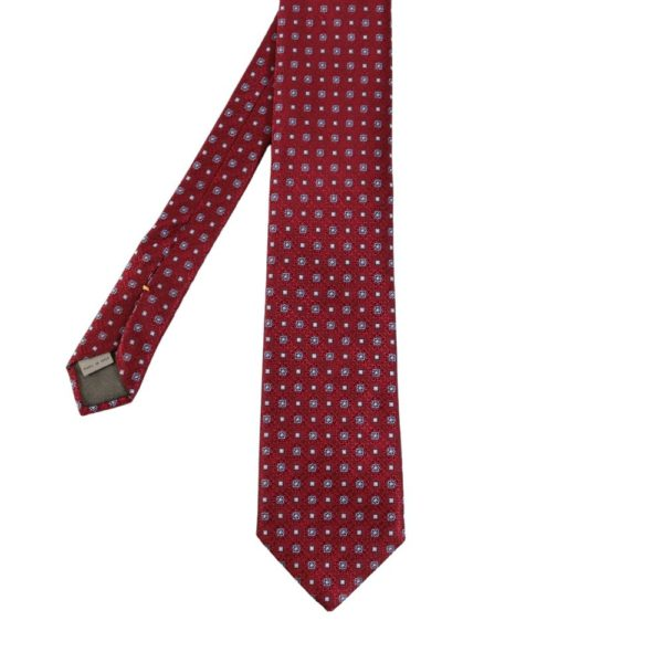 Canali Mini Flowers and Squares Ties Burgundy main