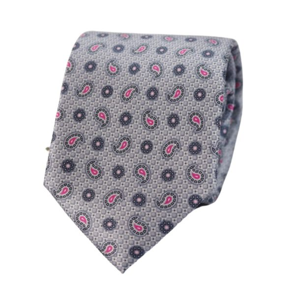 Canali Paisley leaf tie silver blue