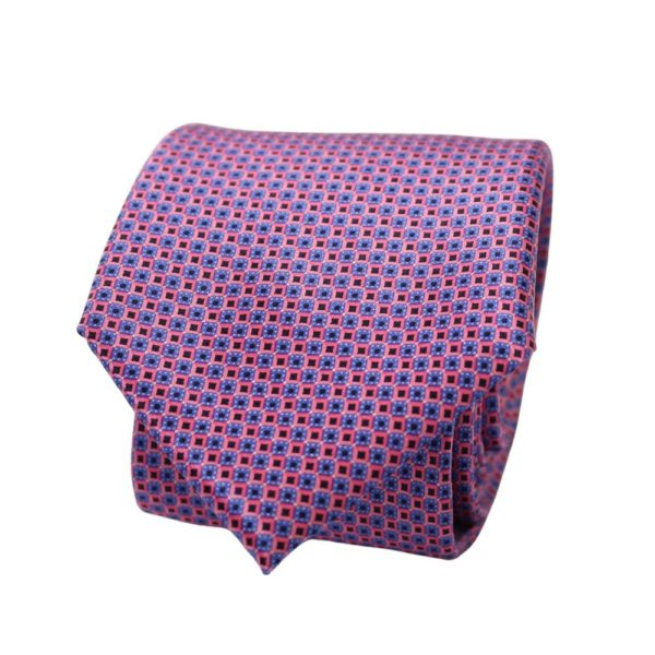 Canali Squares Tie Pink Blue 2