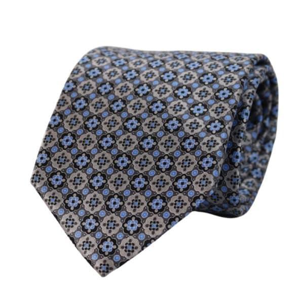 Canali floral shape pattern Tie blue