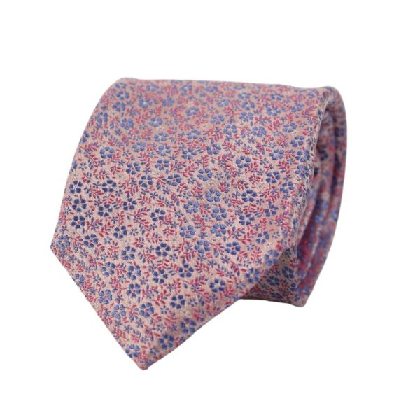 Canali small floral tie pink