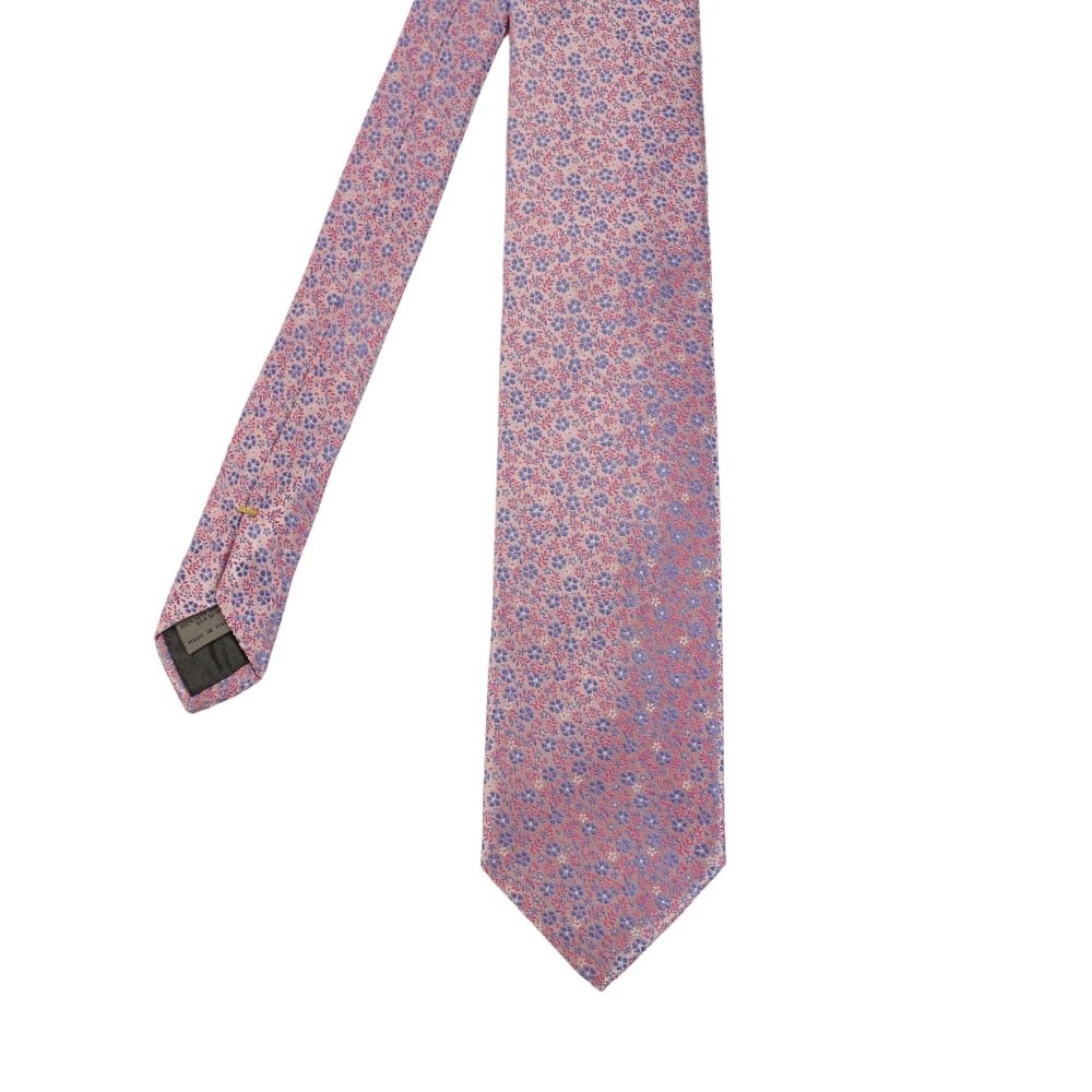 Canali small floral tie pink main