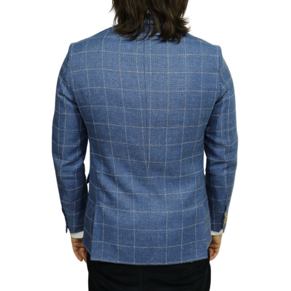Carl Gross blazer jacket blue windowpane check back