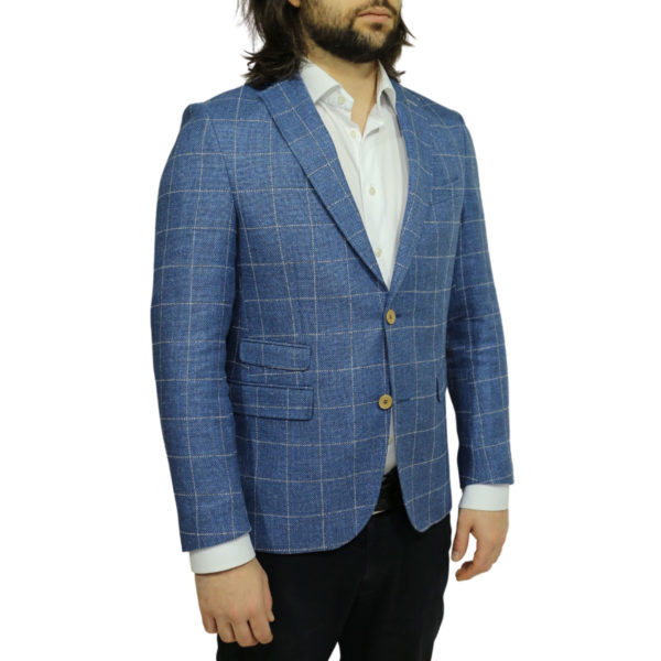 Carl Gross blazer jacket blue windowpane check side