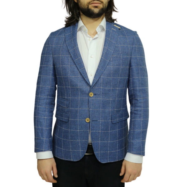 Carl Gross jacket blue windowpane check