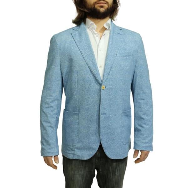 Circolo herringbone blazer jacket blue back
