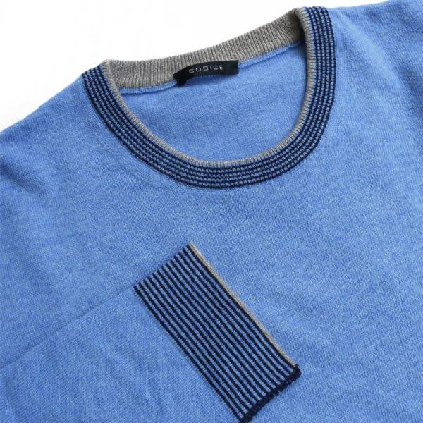 Codice crew neck jumper blue detail