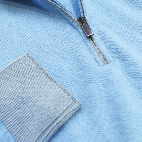 Codice light blue half zip jumper detail1