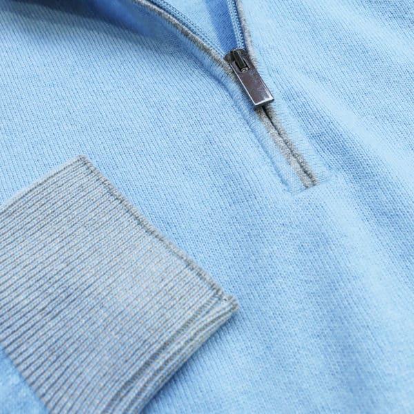 Codice light blue half zip jumper detail1