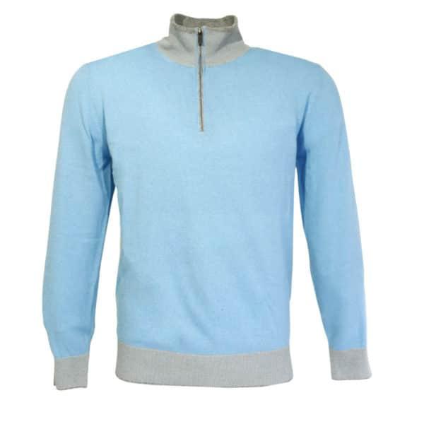 Codice light blue half zip jumper front1