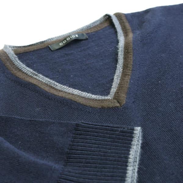 Codice v neck jumper navy detail2