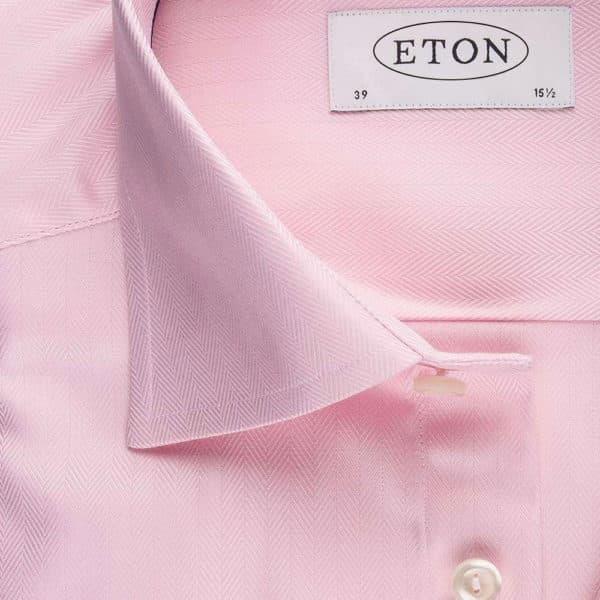 Eton Shirt Herringbone Twill Pink collar