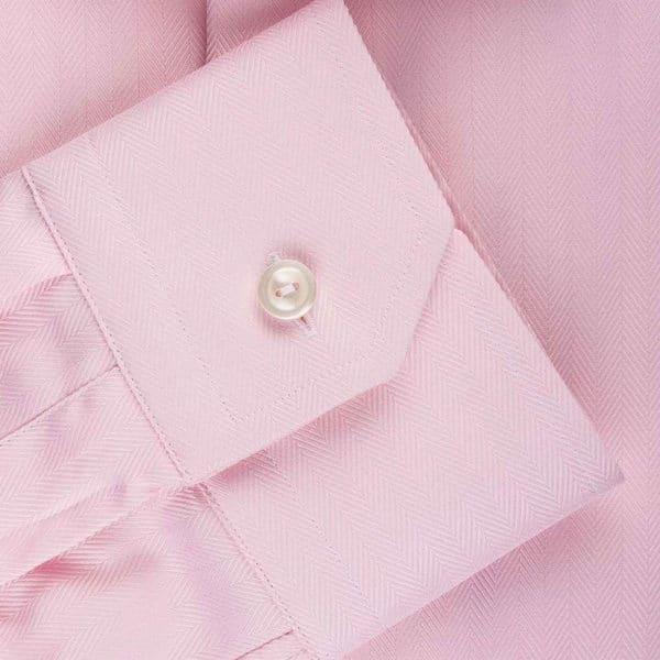 Eton Shirt Herringbone Twill Pink cuff