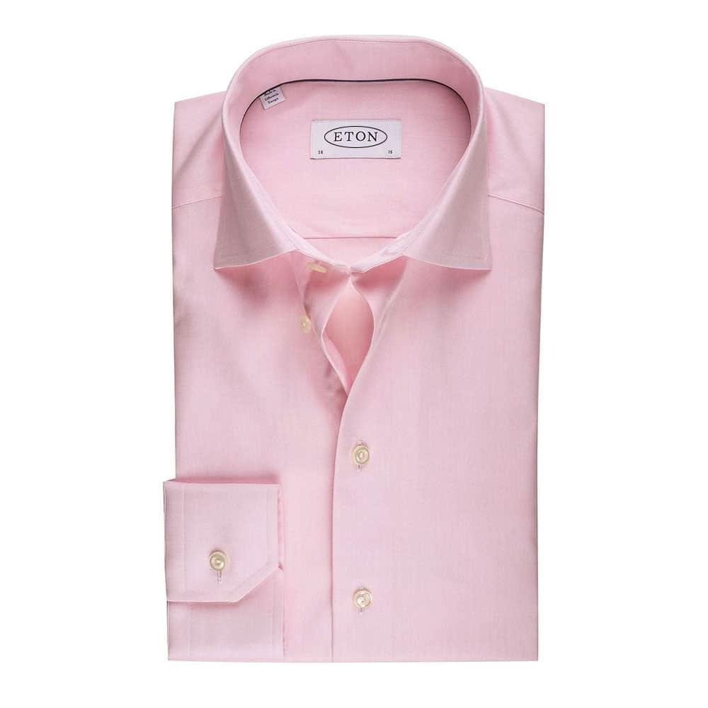 Eton Shirt Herringbone Twill Pink