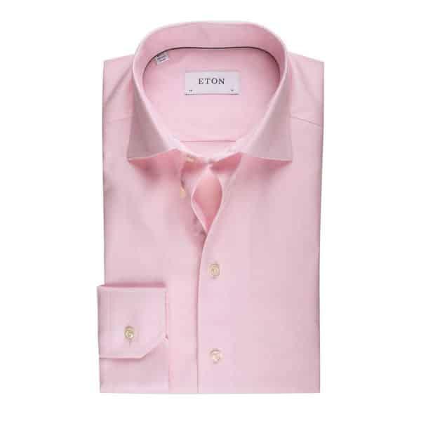 Eton Shirt Micro Herringbone Twill Pink