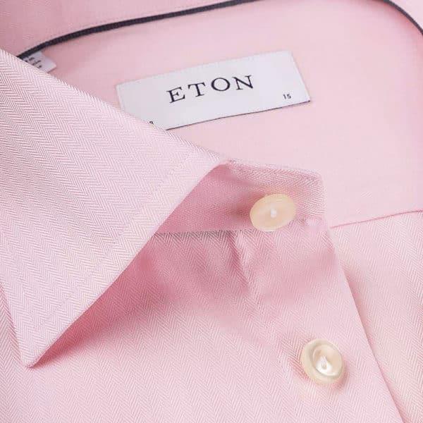 Eton Shirt Micro Herringbone Twill Pink collar