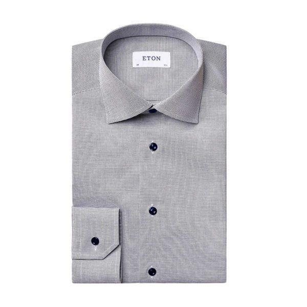 Eton Shirt Micro Stripe Navy1