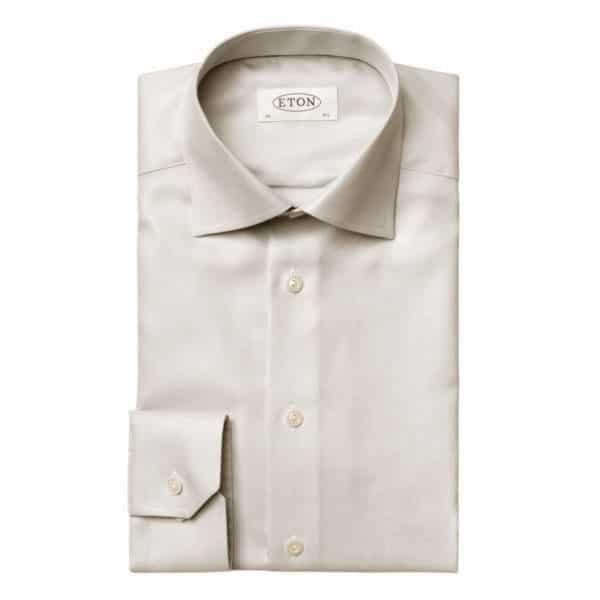 Eton Shirt Textured Twill beige contemporary
