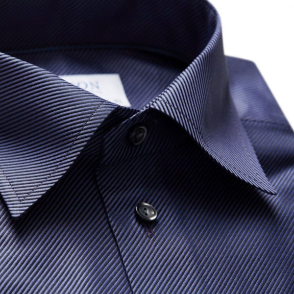 Eton Shirt collar diagonal textured twill Navy