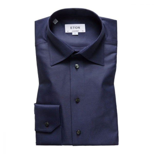 Eton Shirt diagonal textured twill Navy