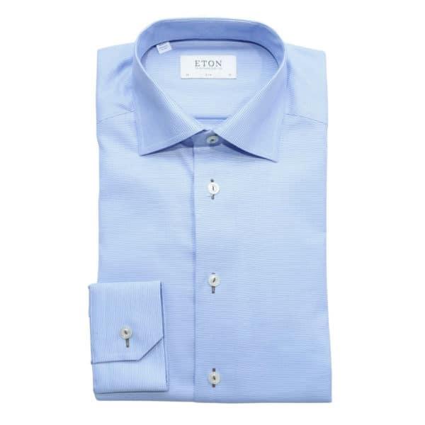 Eton Shirt horizontal weave stripe blue