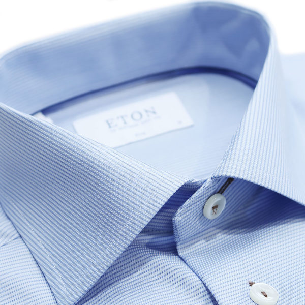Eton Shirt horizontal weave stripe blue collar