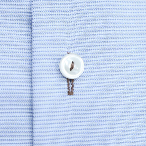 Eton Shirt horizontal weave stripe blue fabric