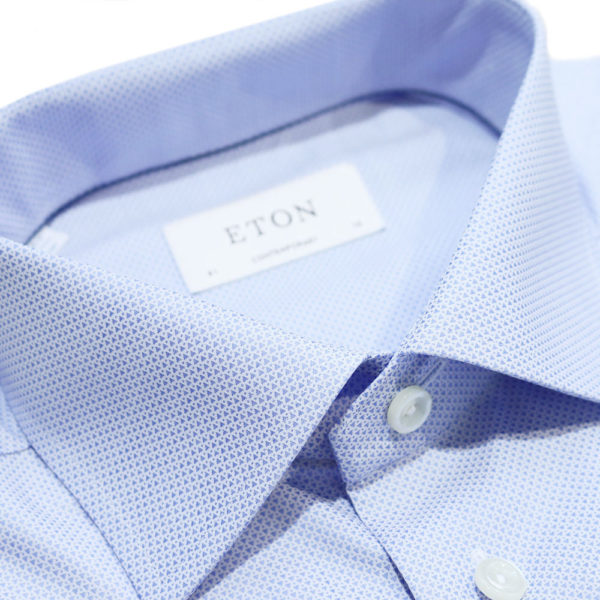 Eton Shirt micro triangle blue collar