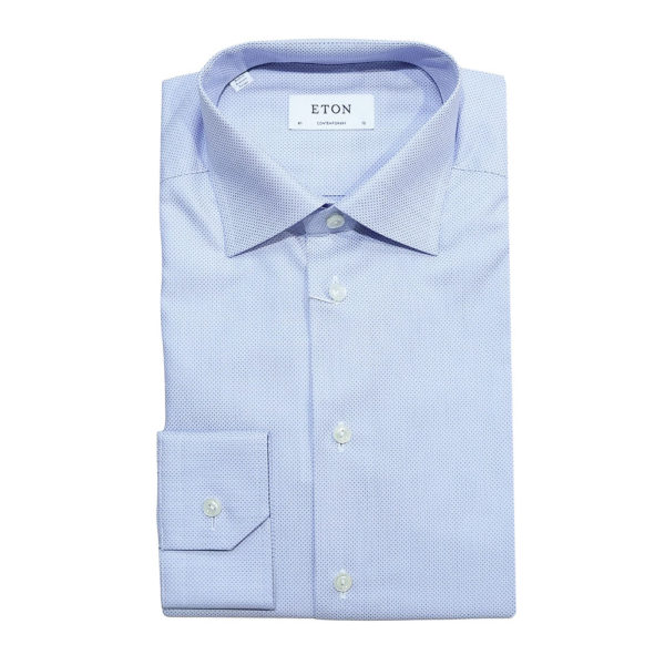 Eton Shirt micro triangle blue fabric