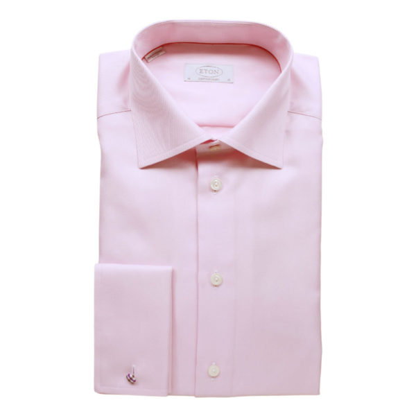 Eton Shirt structured textured diagonal twill pink French cuff