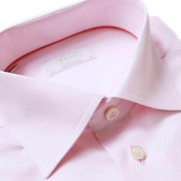 Eton Shirt structured waffle twill pink collar 1
