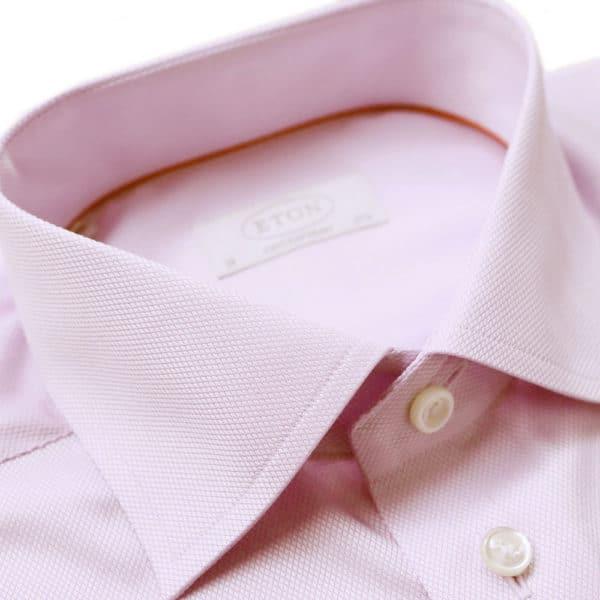 Eton Shirt structured waffle twill pink collar