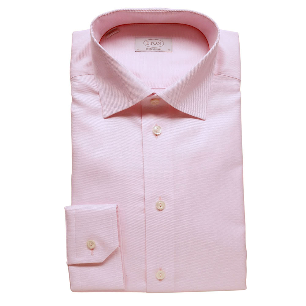 Eton Shirt structured waffle twill pink1