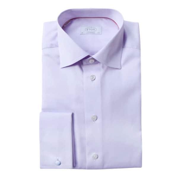 Eton Shirt structured waffle twill purple