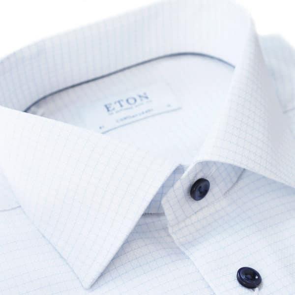 Eton Shirt thin blue check white NEW