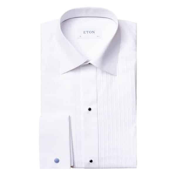 Eton shirt Black tie plisee white