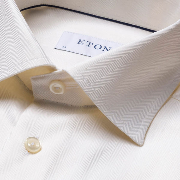 Eton shirt Herringbone off white collar