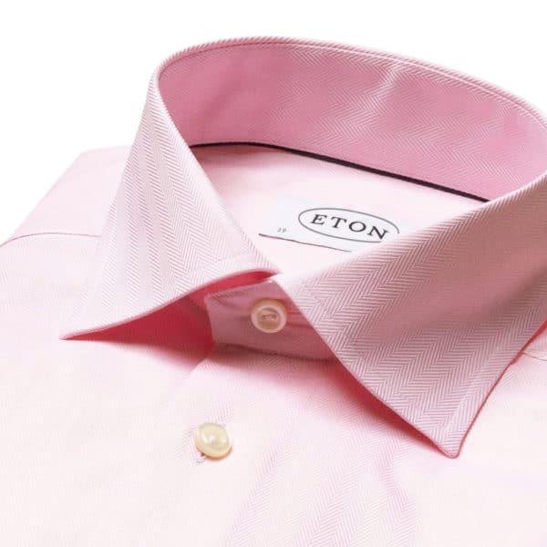 Eton shirt Pink Herringbone Twill collar