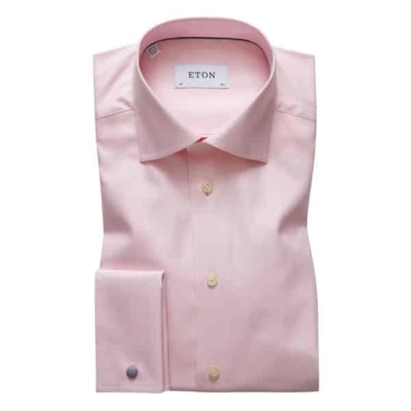 Eton shirt Pink Large Herringbone Twill French Cuff