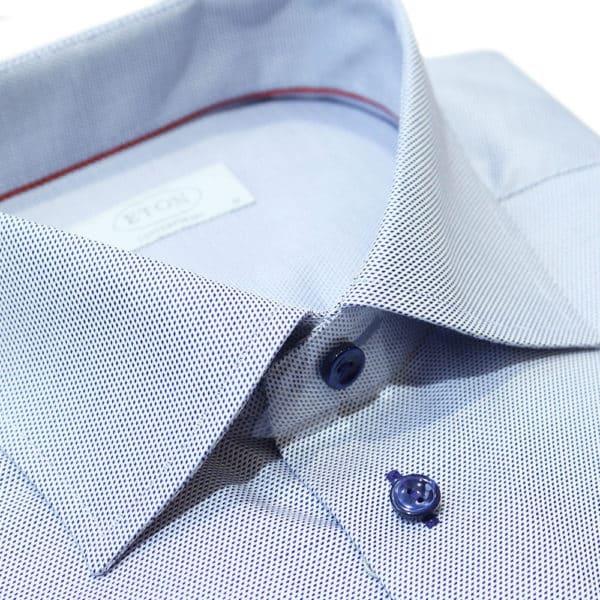Eton shirt blue micro diamond fabric collar